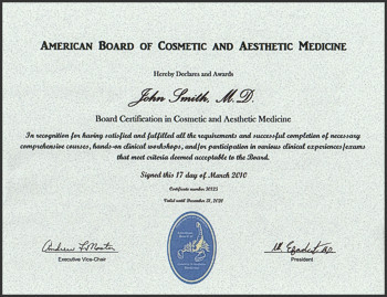 Certificate for the American Board of Cosmetic and Aesthetic Medicine